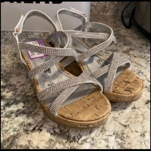 Girls Silver Olive & Edie Wedge Dress Shoes 1